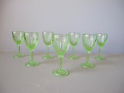 Anchor Hocking Colonial Green Cordial Glasses, Set of (7), Depression Glass