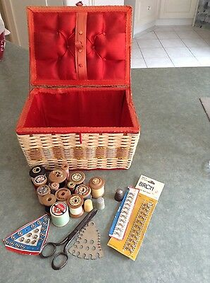 Antique sewing box with wooden cotton reels, antique scissors & thimbles