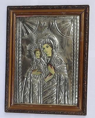 MARY with 3 Hands TRICHEROUSA Greek Orthodox Riza Oklad icon Wooden Frame Glass