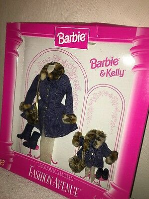 1996 Mattel Barbie & Kelly Fashion Avemue Matchin' Styles Faux Fur Outfit NRFB
