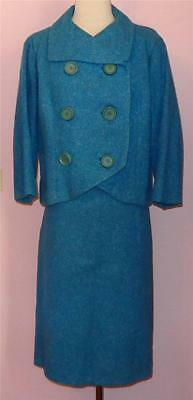 CHRISTIAN DIOR Vtg 50s Saks Blue Suit Outfit Cropped Jacket Pencil Skirt M