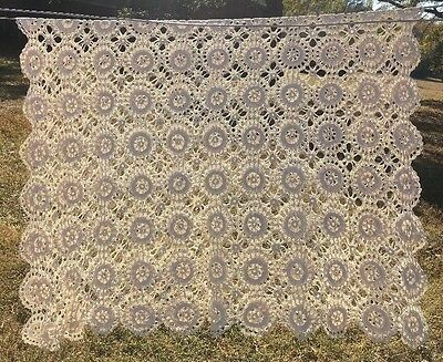 Vintage Crochet Bed Cover Coverlet or Tablecloth Ecru Scallop Wagon Wheel 58x87""