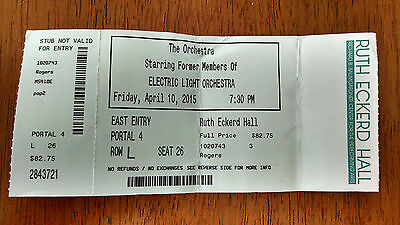Ticket Stub From Elo Concert 2015 Florida Show