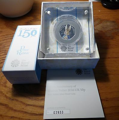 Peter Rabbit 2016 The Royal Mint UK 50p Silver Proof Coin with COA