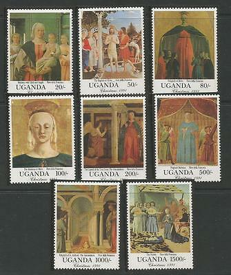 Uganda  1991 Christmas. Paintings by Piero Della Francesca . Completo. MNH