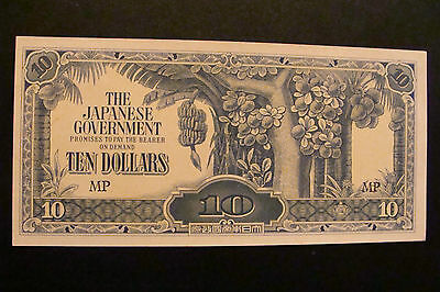 Malaya Japanese Occupation 10 Dollars 1944 Crisp UNC