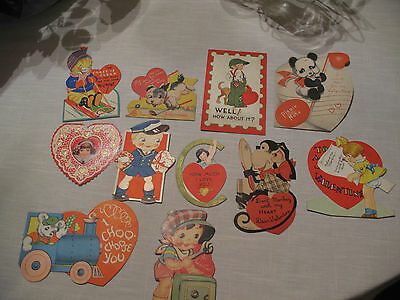 Vintage Lot of 10 Valentines Greeting Cards 30'S 40'S 50'S