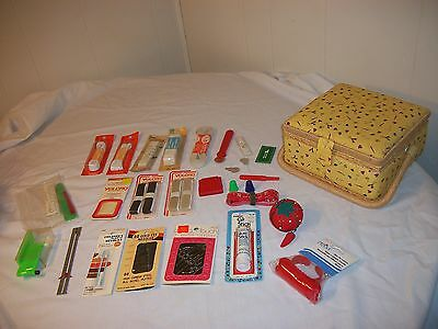 Yellow Sewing Box Notions Tools Needles Elastic Velcro Seam Ripper M. Tape Etc.