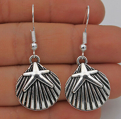 925 Silver Plated Hook - 1.7'' Shell Star Starfish Retro Silver Lady Earrings#61