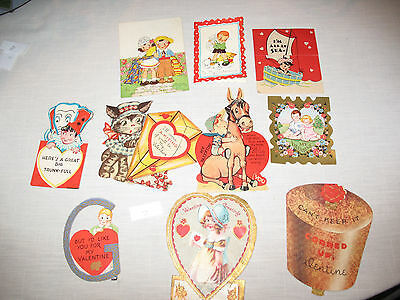 Vintage Lot of 10 Valentines Greeting Cards 30'S 40'S 50'S L7