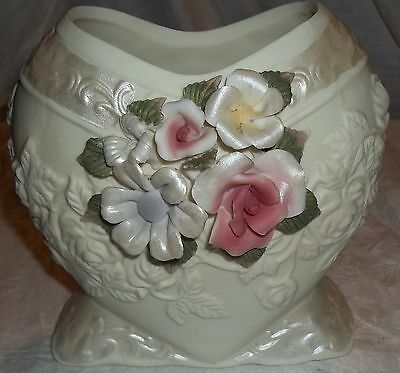 """White Ceramic Footed Heart Centerpiece 7"""" Raised Applied Flowers Pink Blue Green"""