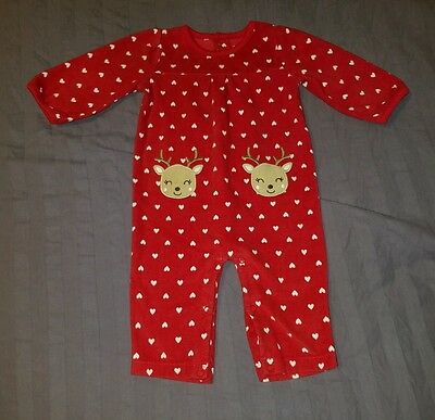 VGUC Carters Baby Girl Clothes 6-9 Months One Piece Fleece Christmas Romper