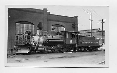 Colorado & Southern Railroad Engine #9 with Snow Plow at Denver CO. Real Photo