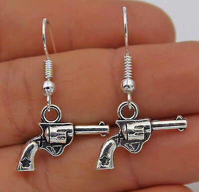 925 Silver Plated Hook - 1.3'' Cool Pistol Gun Retro Silver Punk Earrings #61