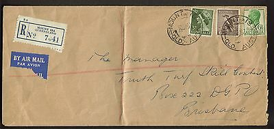 1954 Registered Air Mail Cover 1s 3 1/2d rate Mount Isa Queensland to Brisbane