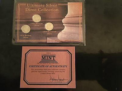 Ultimate Silver Dime Collection (1945 Mercury,1916 Barber,1964 Roosevelt