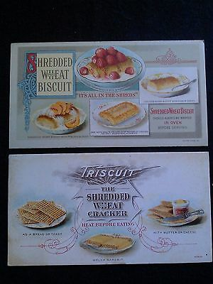 2 RARE Shredded Wheat Biscuit Cracker Advertising Trade Card 1905 Lot 2