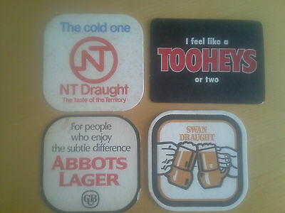 Early Aussie Beer Bar Coasters x 4..Rare OLD  Aussie collectables.