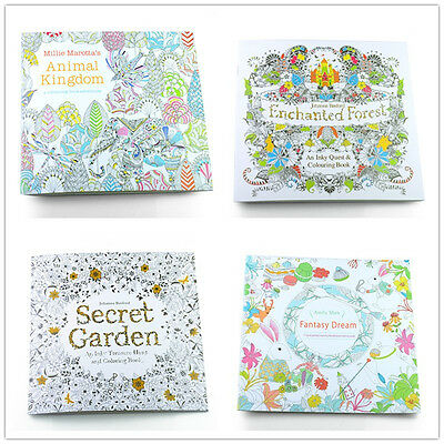 Adult Coloring Books Pack of 4 Art Created Design Painting Relaxing Therapy