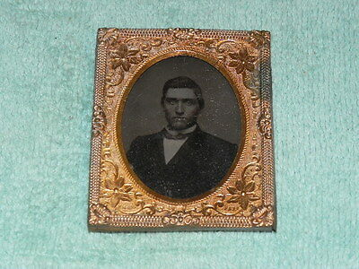 Antique 1/9 Plate Tintype 1800 Copper Brass Picture Frame Vintage Daguerreotypes