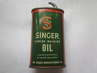 SINGER SEWING MACHINE OIL HANDY OILER 3 FL OZ TIN c1940s MADE in GREAT BRITAIN