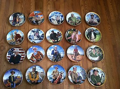 20 John Wayne Franklin Mint Collection plates lot NICE! collectible 24 Kt gold
