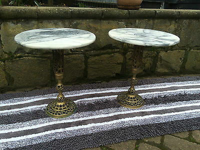 2 Marble and Brass small round coffee table.