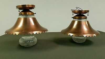 Pair of Rustic Copper Ceiling Light Fixtures Mid Century Western