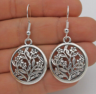"925 Silver Plated Hook - 1.7"" Vintage Hollow Round Flowers Women Earrings #61"