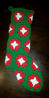 Vintage Hand Crochet Knit Green White & Red Christmas Stocking Holiday Decor