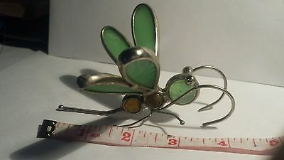 Vintage Sculpture Dragonfly with Wire and Glass