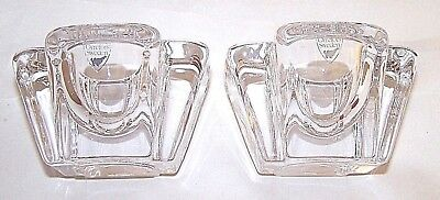2 Signed Orrefors Sweden Max Crystal Glass Tealight/Votive Candle Holders Pair