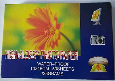 High glossy photo paper 10x15cm 50sheets 235g water proof for inkjet printers