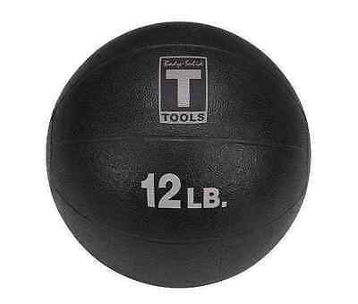 12 lb Weighted Fitness Black Medicine Ball Home Workout Health Rubber 12 lbs NEW