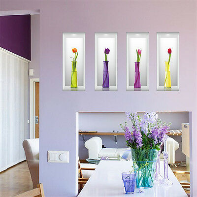 3D Flower Vase Room Decor Removable Wall Sticker Decal Decoration Wandtattoo