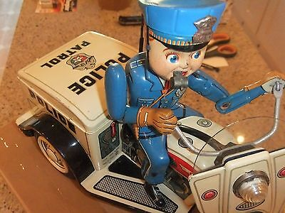 Japanese Police tinplate trike, battery operated