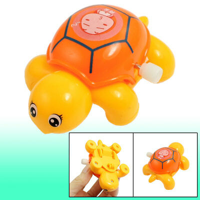 Children Kids Orange Yellow Plastic Headshake Turtle Wind Up Clockwork Toy