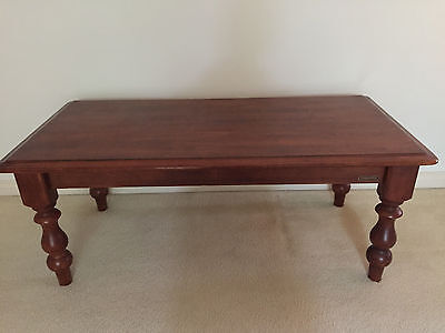 Solid Timber Coffee Table With Turned Legs