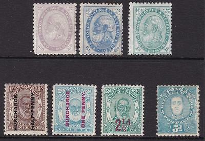 Tonga 1886-95 small selection of George I and George II mint stamps