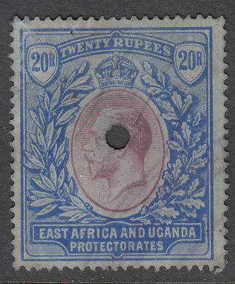 East Africa and Uganda Protectorate: GV 20 Rupees, fiscal cancel, hole (SG60)