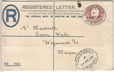 GB: EDVII 1d+ 2d Registered Embossed Cover, Dewsbury to Halifax, 24 Mar 1904