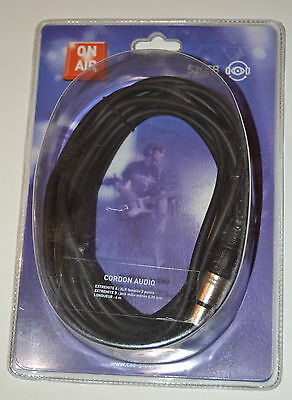 Cable Micro Audio Xlr Femelle Jack Stereo 6.35 Mm 6 M