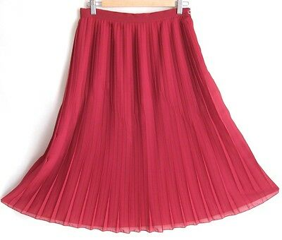 Vintage Red Pleated Full Skirt Sz S