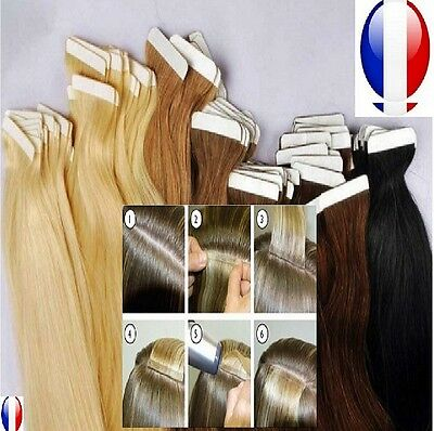10-20-30-40 Extensions Tape Bandes Adhesives Cheveux Naturels Remy Hair 49-60 Cm