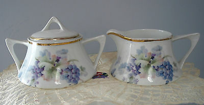 Vintage Z.S.& Co Bavaria Creamer and Sugar bow lidded Grapes
