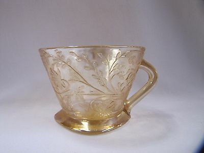 Carnival Glass Mug Antique Florigold Louisa with Handle and Square Base