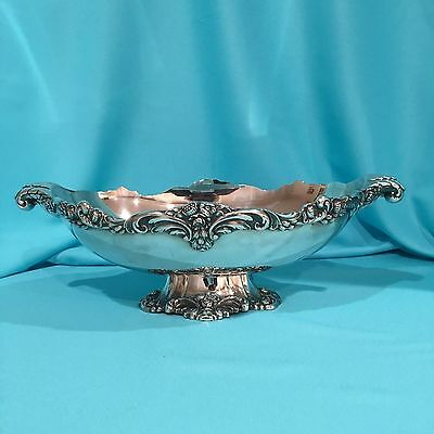 """Vintage Oval Footed Centerpiece Bowl in Eloquence by Lunt Silverplate 17"""" A75"""