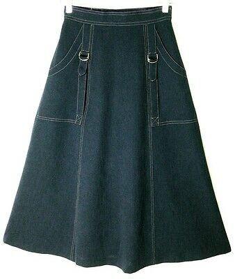 Vintage Navy Blue Silver Buckles Side Pockets A-Line Skirt Sz Xs