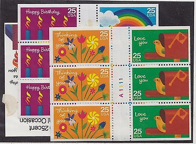US MNH Scott # 2395-2398 (2396a, 2398a) Greetings Panes (12 Stamps)