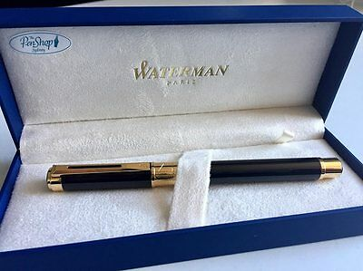Waterman perspective rollerball pen black with gold trim and cap IN BOX - NEW